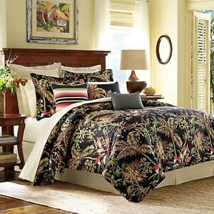 Tommy Bahama Jungle Drive King Duvet Cover Black Exotic Tropical Floral