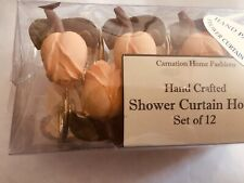 SHOWER CURTAIN HOOKS HAND CRAFTED HANDPAINTED PEACH SET OF 12