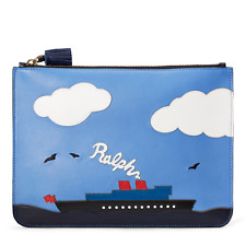 $495 Ralph Lauren Purple Label Collection Steamboat Leather Zip Pouch Clutch NWT