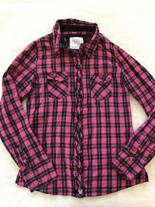 Girls JUSTICE Pink & Black Plaid Button Down Ruffled Shirt - Size 14