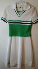 Vintage Bleeker Street Dress 70's White Navy Green Polyester Womens Dress Sz 10