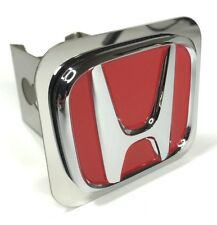 "Red Honda Emblem Tow Hitch Cover (Licensed Stainless Steel 2"" Trailer Plug)"