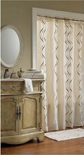 CROSCILL DANTE EMBROIDERED WAVE CHAMPAGNE & BROWN SHOWER CURTAIN