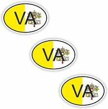 3x Oval Flag Stickers Holy See Vatican Small Country Code Laptop Smartphone