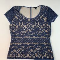 Ann Taylor Womens Blouse Blue Floral Short Sleeve Scoop Neck Lace Overlay Top S