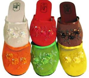 Women's Chinese Mesh Floral Beaded Sequin Slippers Sandals Slip On House Shoes