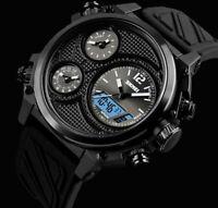 XXL SKM Analog Digital Herren Armband Uhr Schwarz Weiß Chronograph 5 Zeiten