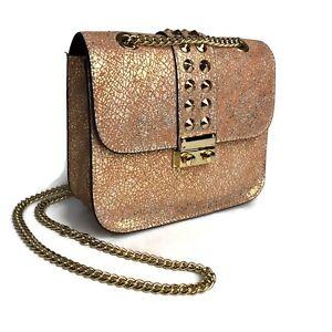 Cuir Rose Crossbody Handbag Rose Gold Metallic Italian Leather Chain Strap Small