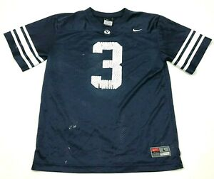 Nike BYU Cougars Football Jersey Youth Size Large 16 - 18 Blue White Vneck Shirt