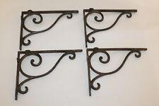 4 Cast Iron Antique Style Brackets Garden Brace Shelf Bracket RUSTIC FARM Scroll