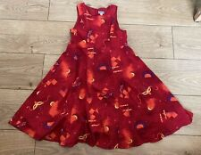 MARESE Girls 8A (Fits 7-8 Years) Red Needle Cord Lined Sleeveless Dress Print
