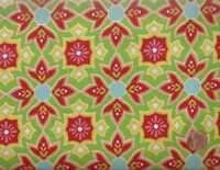 Delighted green red yellow stylized floral Riley Blake fabric