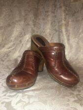 CLARKS ARTISAN MULES CLOGS BUCKLE BROWN LEATHER WOMENS SHOES 7 M