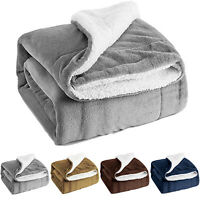 Sherpa Blanket Mink Warm Throw Fuzzy Bed Throws Fleece Reversible Blanket Sofa