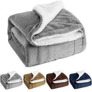 Large Fleece Sherpa Blanket Bed Sofa Throw Winter Double & King Warm Blanket New