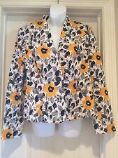 Jones Wear Size 12 Career Casual Blazer Spring Yellow Flower One Button Closure
