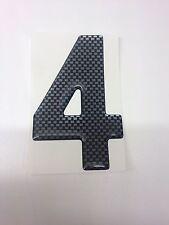 3D Gel Domed Digit Domed DIY Registration Reg Number Plate CARBON Letter 4