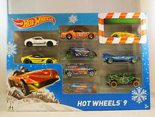 HOT WHEELS XMAS 9 CAR BLUE MINI VAN HOTWHEELS GIFT PACK CARS CHRISTMAS MINIVAN