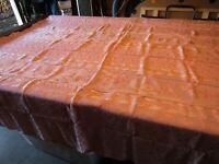 """Vintage Burlington Mills Cotton/Rayon Peach Leaf/Floral Tablecloth 80"""" x 92"""""""