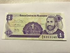 1991 Nicaragua Gem Unc. 1 Centavo de Cordoba #4819