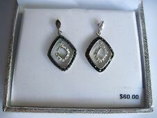 Silver Plated Genuine Clear & Black Crystal Drop Earrings Pierced Boxed FREE S&H