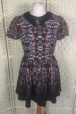 Topshop Petite Multi/Black Lace Effect Collared Short Sleeved Summer Dress 8/10