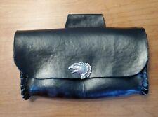 Leather Motorcycle Handlebar Belt Bag Hip Pouch Black Handmade Eagle