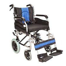 Lightweight Folding Deluxe Aluminium TRANSIT Wheelchair With Handbrakes