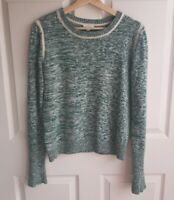 Soft Joie Womens Green Rasena Relaxed Knit Cotton Sweater Pullover Size Small