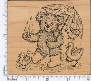 PSX K-2646  RAINY DAY TEDDY/ FUZZY BEAR WITH UMBRELLA & BABY DUCKS  Rubber Stamp