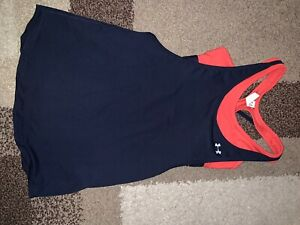 NWT Under Armour Navy/red 2 In 1 Women Racerback Activewear Tank Top XS