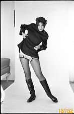 girl in mini clothes, fishnet stockings, 1970's fine art vintage negative