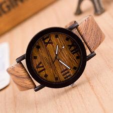Roman Numerals Wood Leather Band Analog Quartz Vogue Wrist Watches US