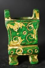 Exquisite Chinese Old green Jade carving Ding/Incense burner   A12