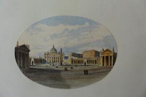 ITALIAN SCHOOL 19thC - CITYSCAPE ROME - VATICAN CITY - SUPERB WATERCOLOR