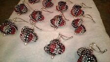 12 HANDMADE CHRISTMAS ORNAMENTS MADE WITH BLING BLACK SILVER AND RED