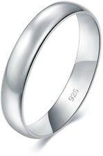 Sterling Silver Ring High Polish Plain Dome Comfort Wedding Band 4mm Ring Size 4