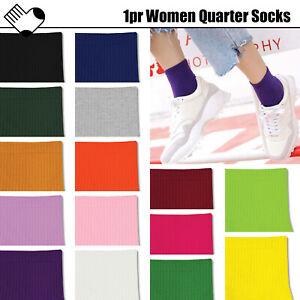 1pr Women Socks Quarter Plain Colourful Neon Solid Colour Fashion Retro Casual