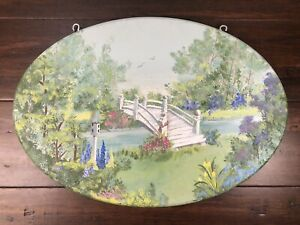 "HAND PAINTED WOODEN COUNTRY/BRIDGE SCENE WALL HANGING PLAQUE 16.25"" x11.25"""