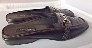 Brighton Coed Brown/Black Croc Print Silver Horsebit Loafer Mule Women's US 9N