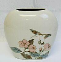 "Vintage Otagiri Hand Crafted Porcelain Hummingbird Pink Flower Vase Japan 4.5"""
