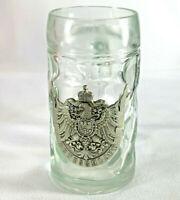 Vintage German Deutschland Glass Beer Mug Pewter Imperial Eagle And Crown EUC