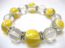 """Yellow Tennis Sport Glass Stretch Bracelet 7.5"""" New w Gift Bag"""