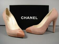 "CHANEL ROSE PINK CAP TOE PLATFORM ""CC"" CLASSIC SUEDE POINTY TOE PUMPS 38/7.5 NEW"