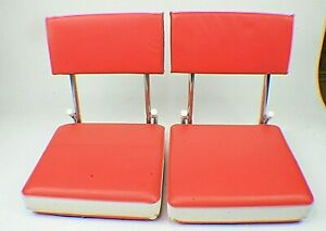 2 Vintage Stadium Chair Bleacher Metal Folding Seat Red White Vinyl  a5
