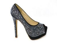 WOMENS LADIES HIGH HEELS PLATFORM POINTED PARTY BLING COURT SHOES PUMPS SIZE