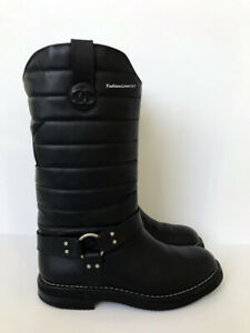 NEW $1750 CHANEL BLACK LEATHER OILY CAL QUILTED BIKER BOOTS 41