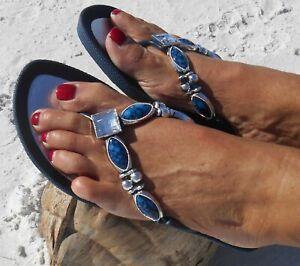 GRANDCO SANDALS  ROYAL V-THONG BLING Dressy BLUE DENIM COLOR GEMSTONES Jeweled
