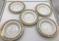 Lot of (5) Antique Limoges France WM Guerin Porcelain Soup Bowls Roses Gold Trim