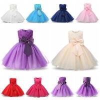 718417169229 Girls Party Dress Rose Bow Flower Princess Sleeveless Formal Wedding  Bridesmaid